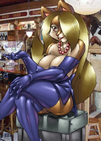 voluptuous kitty enjoying her martini at sexyfur